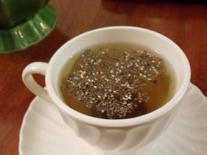 Chia seeds on tea
